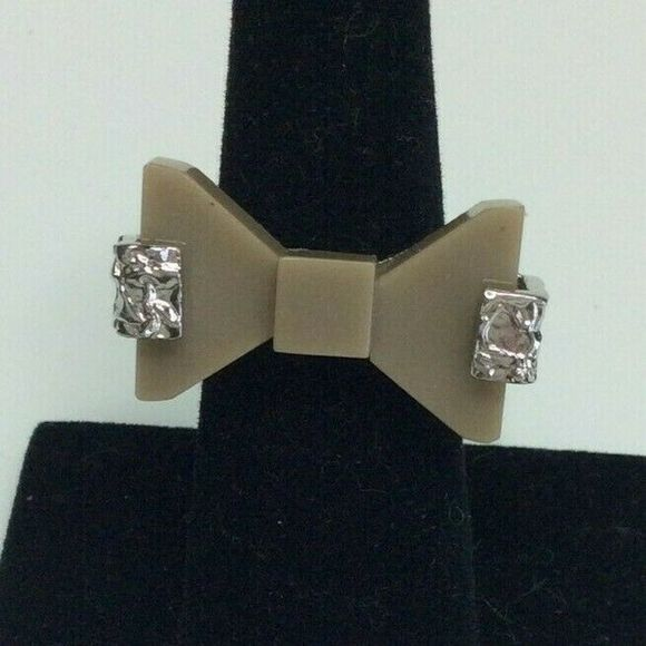 Marc by Marc Jacobs Textured Metal Brown Bow Ring